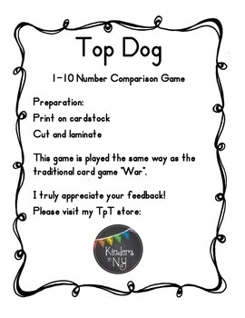 Top Dog 1 to 10 Number Comparison Activity, Common Core Aligned