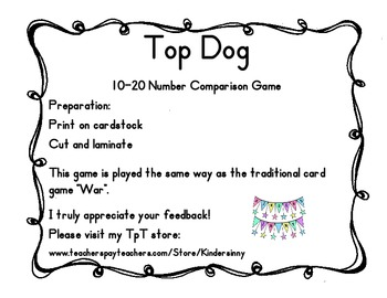 Top Dog, 10-20 Number Comparison Activity, Common Core Aligned