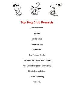 Top Dog Club (Peanuts Classroom Behavior Management)