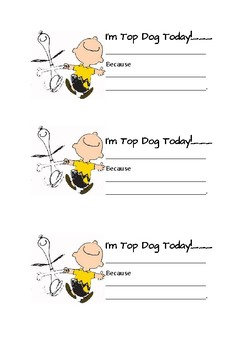 Top Dog Note Home (Peanuts Classroom Behavior Management)