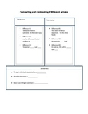 Top Hat Graphic Organizer for Compare and Contrast two articles