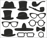 Top Hats Clip Art, Photo Booth Printable Props