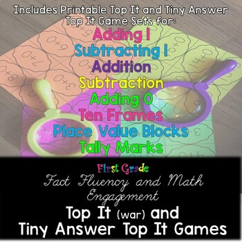 Top It (war) and Tiny Answer Top It Math Card Games for First Grade - Pack 1