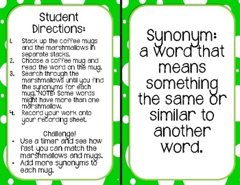 Top Me Off! Synonym and Antonym Activity