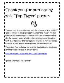 """""""Top Player"""" poster for student of the week (Star student poster for game theme)"""