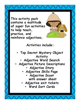Top Secret Adjective Activities  Printables, SCOOT Activity, and More  No Prep