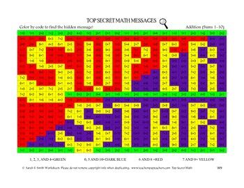 Color By Code Top Secret Math Addition Sums 0-10 Superstar