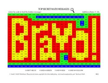 Color By Code Top Secret Math Addition Sums 3-10 Bravo