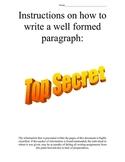 Top Secret Writing Document: Paragraph writing skills