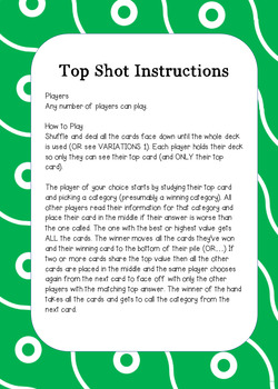 Top Shot FOOD 2018 Cards full of Nutrition Facts