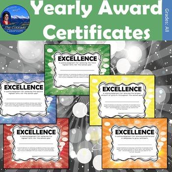 Yearly Award Certificates