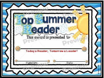 Top Summer Reader Certificate