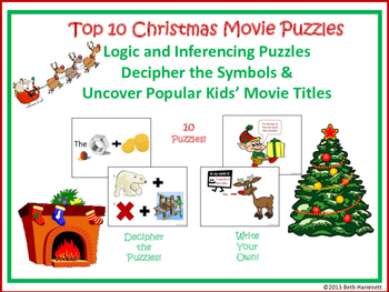 Top Ten Christmas Movies: Logic and Inferencing Movie Title Puzzles--FREE!