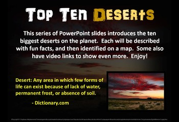 Top Ten Deserts: engaging PPT with info, links, graphic organizer & map handouts