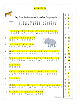 Top Ten Endangered Species Cryptoquiz