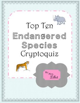 Top Ten Endangered Species Cryptoquiz