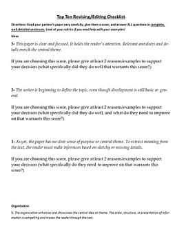Top Ten List Creative Writing Assignment