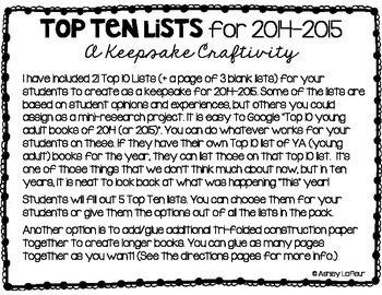 Top Ten Lists {An End of the Year Keepsake Craftivity}