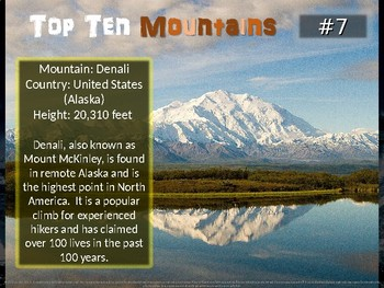 Top Ten Mountains: engaging PPT w info, links, graphic organizer & map handouts