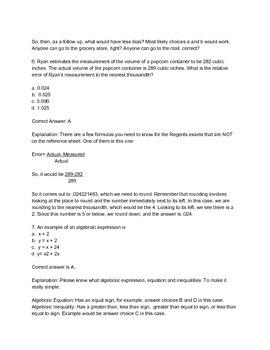 Top Ten Questions for Algebra I Regents Exam