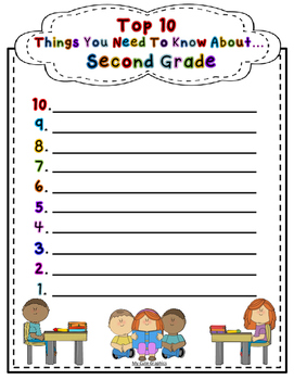 Top Ten Things About (Grade level or Student) (All Elementary levels Included)