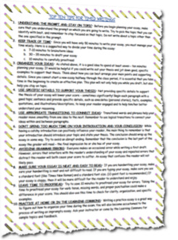 Top Ten Tips for Timed Writing Reference Guide