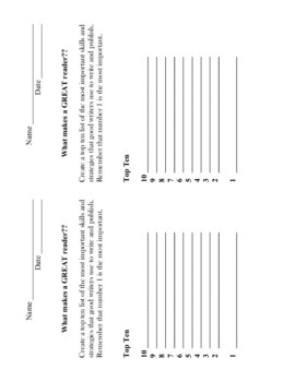 Top Ten - Writer (student sheets)