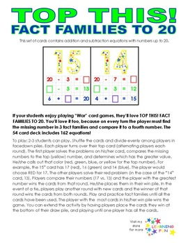 Top This! Fact Families to 20