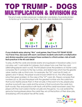 Top Trump Dogs - Multiplication & Division
