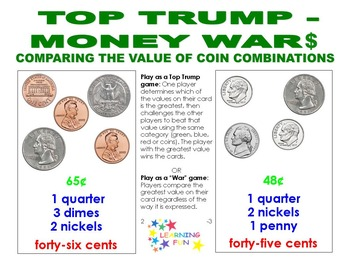Top Trump Money War$ - Comparing the value of coin combinations