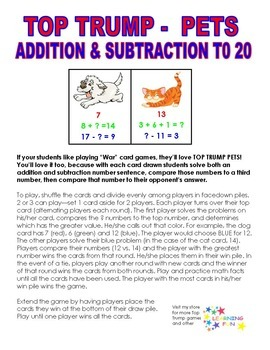 Top Trump Pets - Addition and Subtraction to 20