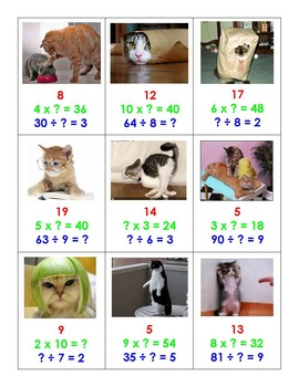 Top Trump Silly Cats - Basic Multiplication & Division