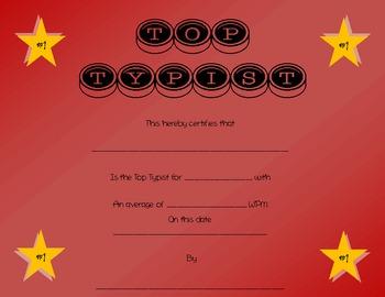 Top Typist Award Certificate