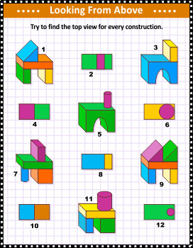 Top View Visual Math Puzzle with Building Blocks, Commercial Use Allowed