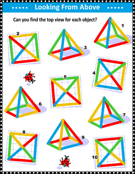 Top View Visual Math Puzzle with Colorful Wire Objects, Commercial Use Allowed