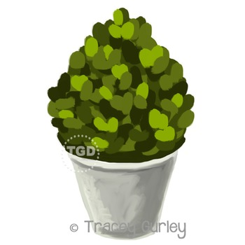 Topiary in Gray Planter - topiary clip art Printable Tracey Gurley Designs