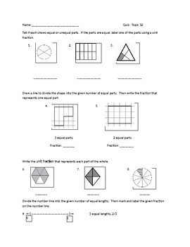 Topic 12 Fractions - Grade 3  Envision 2.0 Pearson - Lesson 12.1-12.5 - EDITABLE