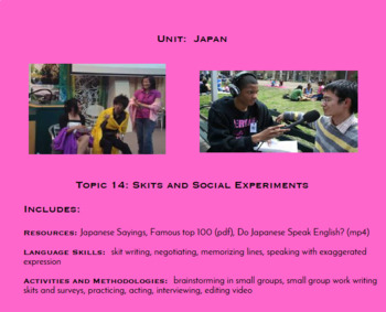 Topic 14, Skits and Social Experiments (Japanese Culture Unit)