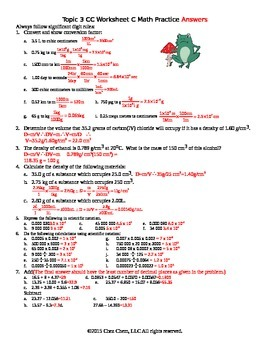 Topic 3 CC Worksheet C math practice Answers