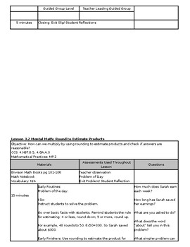 Envision Math 2.0 Lesson Plans 4th Grade Topic 3 (Editable)
