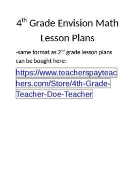 Topic 3: Envision Math Lesson Plans 4th Grade (Editable)