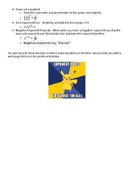 Topic 3 - Integer Exponents Test - Study Guide (Digits Math)