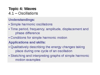 IB Physics - Topic 4.1 - Oscillations