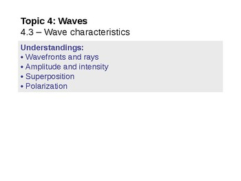 IB Physics Topic 4.3 - Wave characteristics