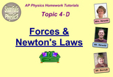 Topic 4-D Physics Homework Tutorial Vodcasts