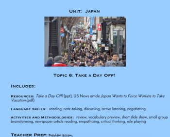 Topic 6, Take A Day Off! (Japanese Culture Unit)