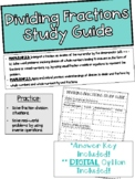 Topic 9 Dividing Fractions Study Guide