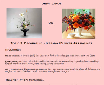Topic 9, Ikebana Flower Arranging (Japanese Culture Unit)