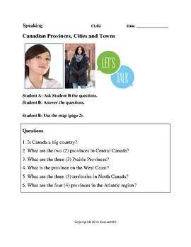 Topic: Canadian Provinces, Cities and Towns - Speaking for LINC/ESL Class: CLB 2