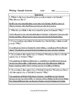 Topic: Canadian Provinces, Cities and Towns-Writing Activity & Answer Key: CLB 3